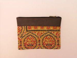 Pochette tissu & similicuir, orange, moyen format