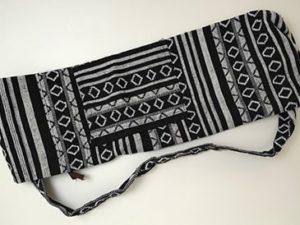 Sac tapis de yoga, noir et blanc, gamme éthnique