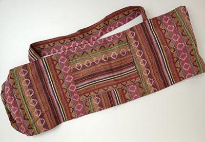 Sac tapis de yoga, rose pâle & ocre, gamme éthnique