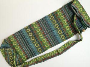 Sac tapis de yoga, vert & jaune, gamme éthnique