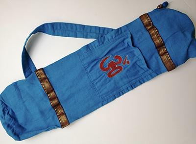 sac tapis de yoga OM bleu signe bordeaux